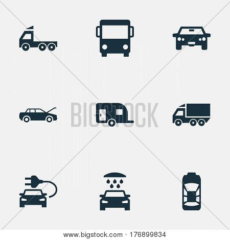 Vector Illustration Set Of Simple Automobile Icons. Elements Caravan, Car Charging, Repair And Other Synonyms Motorcar, Electric And Repair.