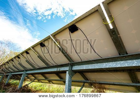 Back Side View Photovoltaics In Solar Power Station