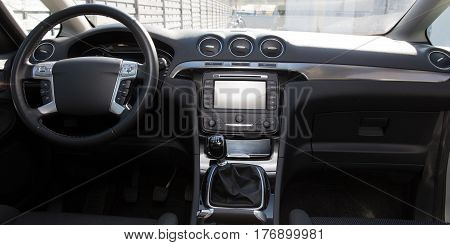 interior and dashboard of a modern black car