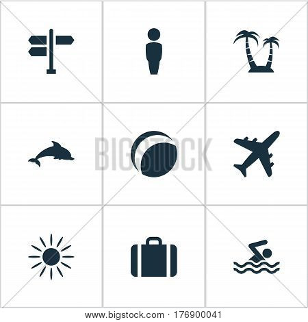 Vector Illustration Set Of Simple Seaside Icons. Elements Palm, Airplane, Crossroad And Other Synonyms Crossroad, Heat And Gentleman.