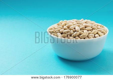 Raw white bean or pearl haricot bean in a bowl on blue background. Vegan source of protein.