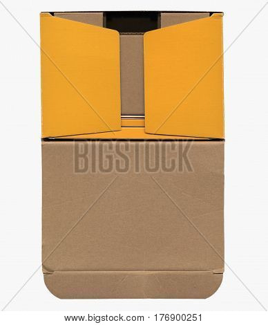 Brown corrugated cardboard box isolated on white