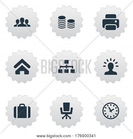 Vector Illustration Set Of Simple Commerce Icons. Elements Relationship, Hard Money, Printing Machine And Other Synonyms Group, Coins And Profile.