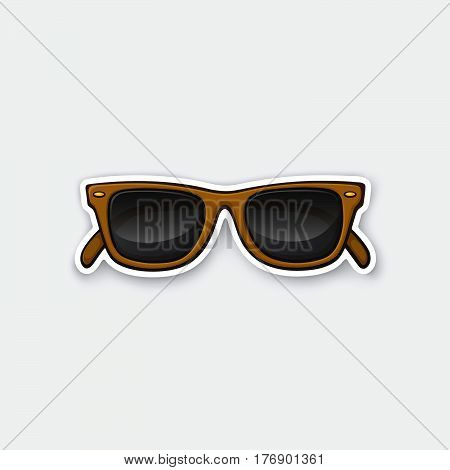 Vector illustration. Retro sunglasses horn-rimmed glasses. Sticker in cartoon style with contour. Decoration for greeting cards patches prints for clothes badges posters emblems