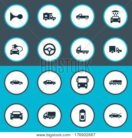 Vector Illustration Set Of Simple Car Icons. Elements Haulage, Driving, Carriage And Other Synonyms Public, Auto And Vehicle.