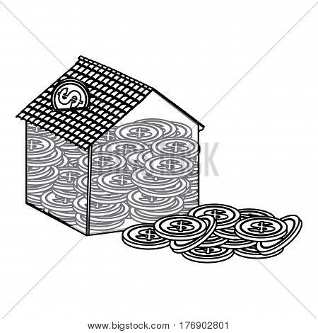 silhouette housing save coins with money outside, vector illustration design