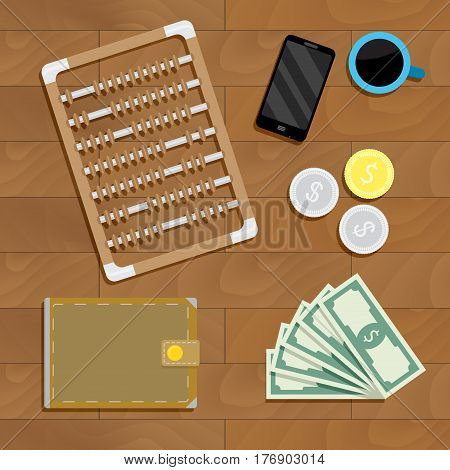 Business financial account. Investment and counting business banknote bill vector illustration