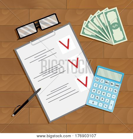 Financial planning and counting. Auditing procedure inspect and analyze banknote table view top vector illustration
