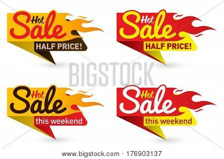 Hot Sale Price Offer Deal Vector Labels Templates Stickers Designs With Flame