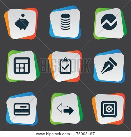 Vector Illustration Set Of Simple Financial Icons. Elements Statistic, Calculator, Piggy Bank And Other Synonyms Supervision, Nib And List.