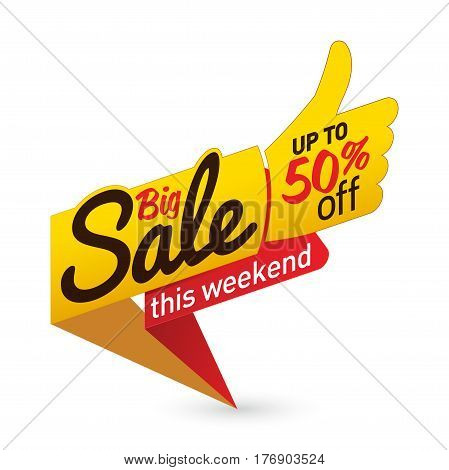 Big Sale Price Offer Deal Vector Labels Templates Stickers Designs With Like Gesture. Vector Illustr