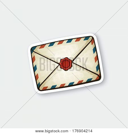 Vector illustration. Closed vintage mail envelope with wax seal. Not read incoming message. Sticker in cartoon style with contour. Decoration for greeting cards patches prints for clothes badges posters emblems
