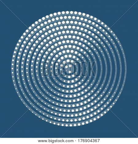 Abstract halftone circle background. Halftone dots lines vector pattern. White dots on blue background retro style