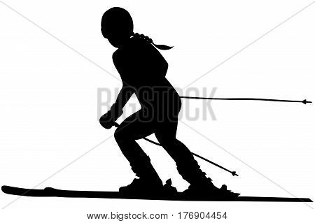 alpine skiing female athlete downhill black silhouette
