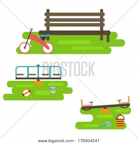 Kids playground elements for city construction to create urban background flat style vector illustration. Outdoor equipment childhood swing game ground.