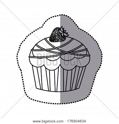 silhouette muffin with chocolate and strawberry icon, vector illustration design