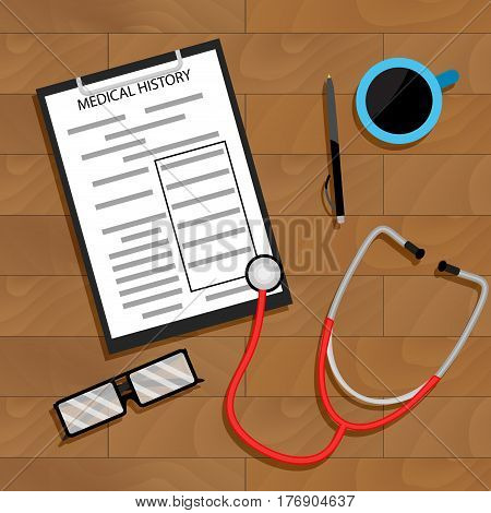 Workplace doctor top view vector. Diagnostic medicine medication on table illustration