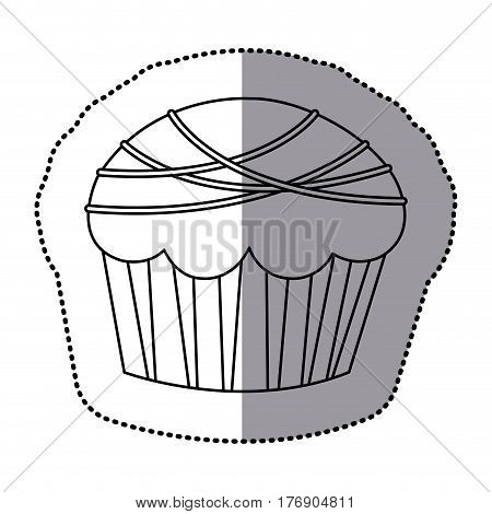 silhouette muffin with chocolate icon, vector illustration design
