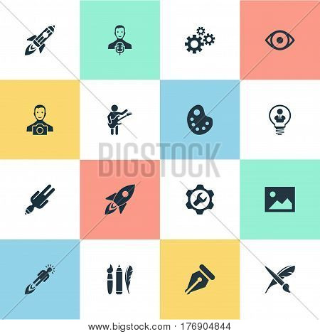 Vector Illustration Set Of Simple Creative Thinking Icons. Elements Drawing Tool, Entrepreneur, Design Instruments And Other Synonyms Warning, View And Galaxy.