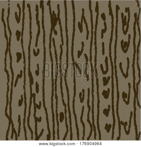 Abstract background of gray and brown spots and circles and curved bands of flowing paint throughout the pattern of wood texture