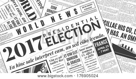 French presidential election 2017. Vector illustration newspaper background.
