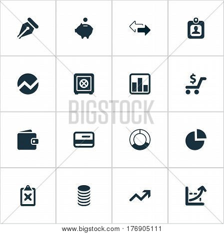 Vector Illustration Set Of Simple Banking Icons. Elements Nib, Earnings, Billfold And Other Synonyms Segment, Clipboard And Chart.