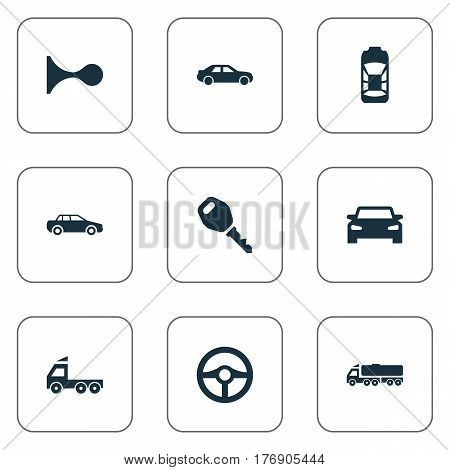 Vector Illustration Set Of Simple Auto Icons. Elements Steering Wheel, Automobile, Klaxon And Other Synonyms Lock, Klaxon And Carcase.
