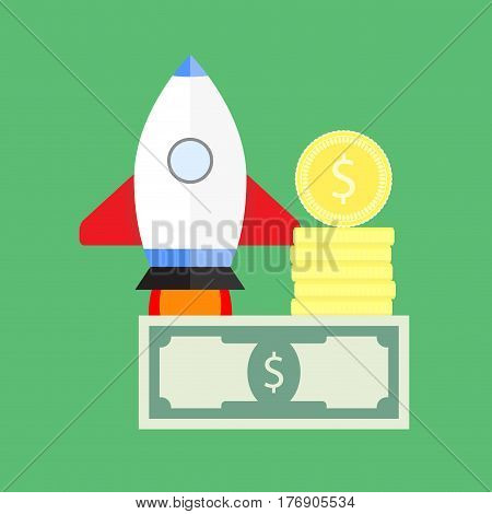 Investing and starting startup. Investment in new startup idea vector illustration