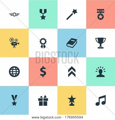 Vector Illustration Set Of Simple Trophy Icons. Elements Melody, Growth Diagram, Award And Other Synonyms Music, Victory And Magic.