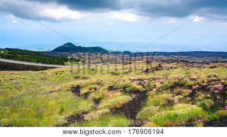 Overgrown Volcanic Land Of Mount Etna