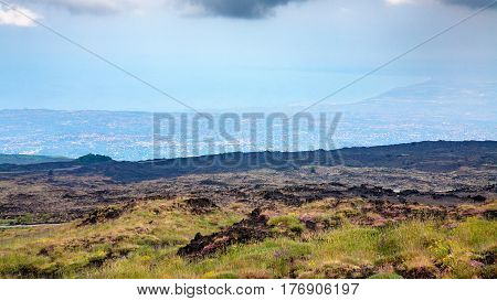 Overgrown Slope Of Mount Etna And Ionian Sea Coast