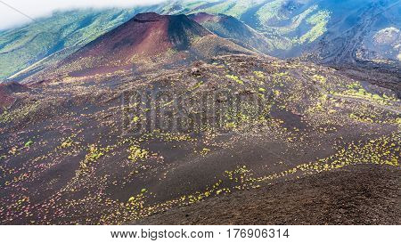 Hardened Lava Fields And Craters On Mount Etna