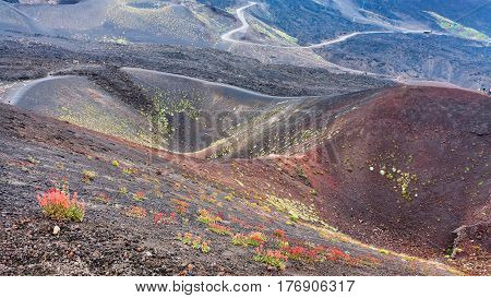 Several Craters On Mount Etna In Sicily
