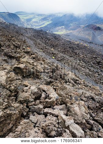 Slope With Hardened Lava Field On Mount Etna