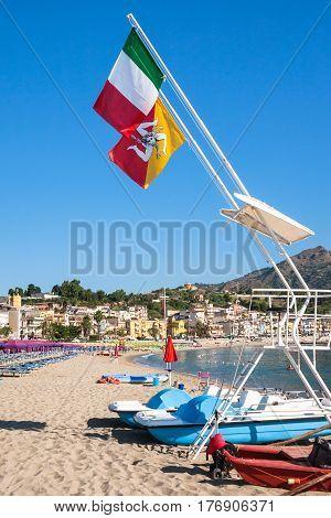 Italian Flags Over Beach Of Giardini Naxos