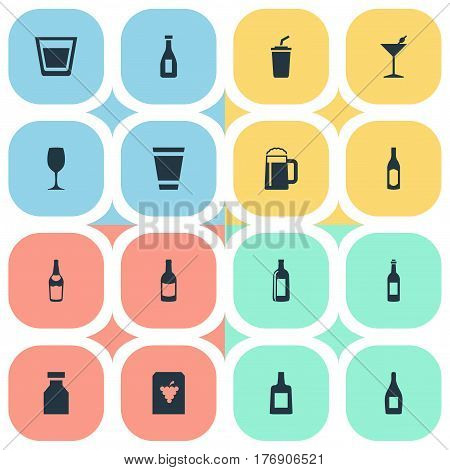 Vector Illustration Set Of Simple Beverage Icons. Elements Cup, Liquor, Bottle And Other Synonyms Brandy, Container And Alcohol.