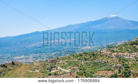 Panorama With Villages And Etna Volcano In Sicily