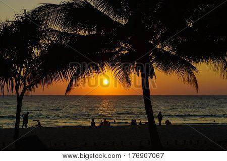 Surin beach at sunset in Phuket island Thailand