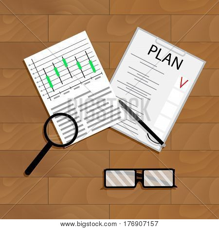 Economic planning vector. Forecast investment graph and chart of profit plan illustration