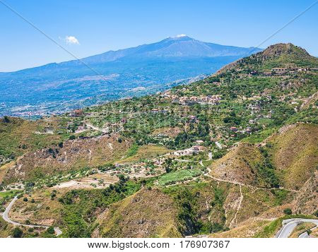 View Of Green Hills With Villages And Etna
