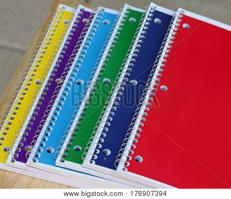 Closeup of Spiral Notebooks on a Desk