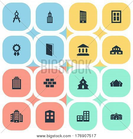 Vector Illustration Set Of Simple Architecture Icons. Elements Residential, Structure, Shelter And Other Synonyms Wall, Apartment And House.