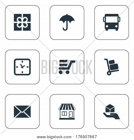Vector Illustration Set Of Simple Conveyance Icons. Elements Gingham, Hand , Luggage Bearer Synonyms Message, Present And Umbrella.