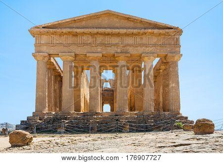 Back Side Of Tempio Della Concordia In Agrigento