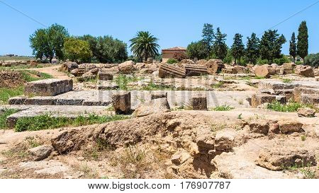Ruins Of Ancent Greek Temple In Agrigento, Sicily