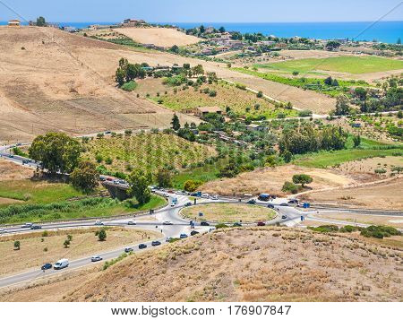 Roads And Agrarian Fields Near Agrigento Town