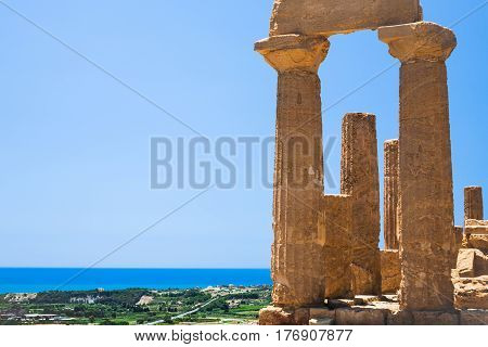Ruins Of Temple Of Juno (hera) In Agrigento
