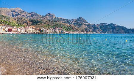 View Of Taormina City And Giardini Naxos Village