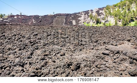 Petrified Lava Flow On Slope Of Etna