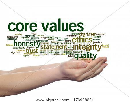 Conceptual core values integrity ethics abstract concept word cloud in hands isolated on background